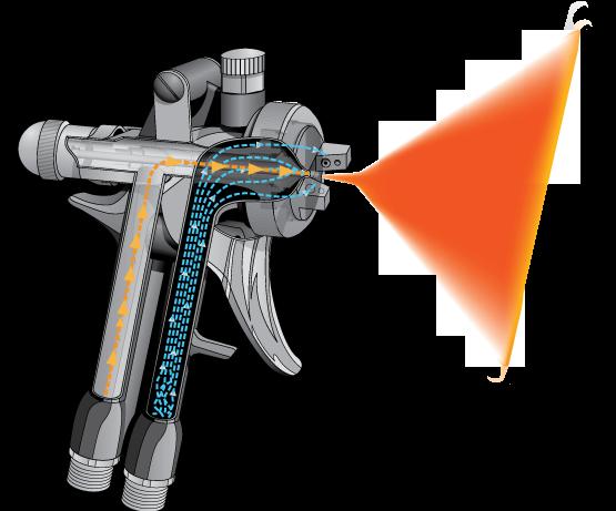Diagram Showing Paint/Air Flow Through Dux Spray Gun